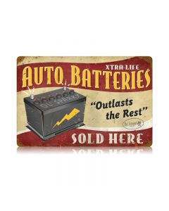 Auto Batteries Vintage Sign, Transportation, Metal Sign, Wall Art, 12 X 18 Inches