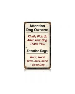 Attention Dogs Vintage Sign, Oil & Petro, Metal Sign, Wall Art, 8 X 14 Inches