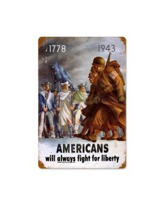 Americans Fight Vintage Sign, Military, Metal Sign, Wall Art, 12 X 18 Inches