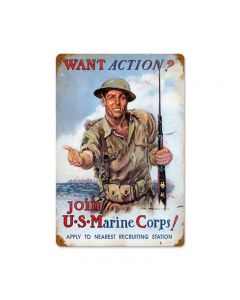 Usmc Action, Military, Metal Sign, Wall Art, 12 X 18 Inches
