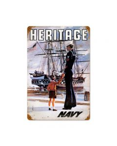 Navy Heritage Vintage Sign, Military, Metal Sign, Wall Art, 12 X 18 Inches