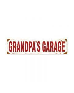 Grandpa'S Garage Vintage Sign, Transportation, Metal Sign, Wall Art, 5 X 20 Inches