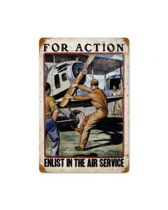 For Action Vintage Sign, Military, Metal Sign, Wall Art, 18 X 12 Inches