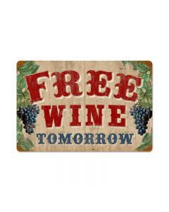Free Wine Vintage Sign, Bar and Alcohol , Metal Sign, Wall Art, 18 X 12 Inches