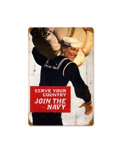 Serve Your Country Vintage Sign, Military, Metal Sign, Wall Art, 12 X 18 Inches