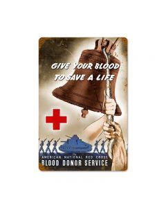 Red Cross Bell Vintage Sign, Military, Metal Sign, Wall Art, 18 X 12 Inches
