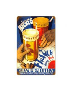 Beers Of France Vintage Sign, Man Cave, Metal Sign, Wall Art, 18 X 12 Inches