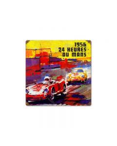 24 Heures Dumans Vintage Sign, Transportation, Metal Sign, Wall Art, 12 X 12 Inches