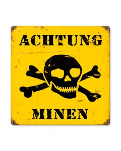 Achtung Minen Vintage Sign, Military, Metal Sign, Wall Art, 12 X 12 Inches