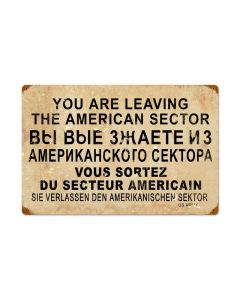 American Sector Vintage Sign, Military, Metal Sign, Wall Art, 24 X 16 Inches