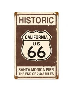 HISTORIC RT. 66 Vintage Sign, Transportation, Metal Sign, Wall Art, 12 X 18 Inches