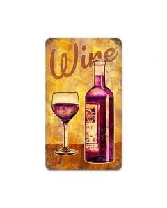 Wine Glass Vintage Sign, Bar and Alcohol , Metal Sign, Wall Art, 8 X 14 Inches