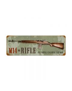 M14 Rifle Vintage Sign, Military, Metal Sign, Wall Art, 24 X 8 Inches
