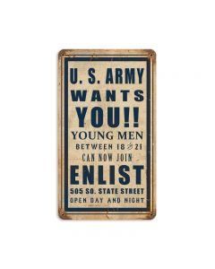 Army Wants You Vintage Sign, Military, Metal Sign, Wall Art, 8 X 14 Inches