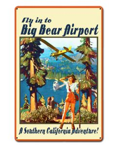 BIG BEAR AIRPORT, Other, Metal Sign, Wall Art, 12 X 18 Inches
