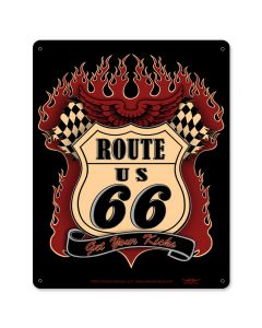 Route 66 Kicks Vintage Sign, Street Signs, Metal Sign, Wall Art, 12 X 15 Inches