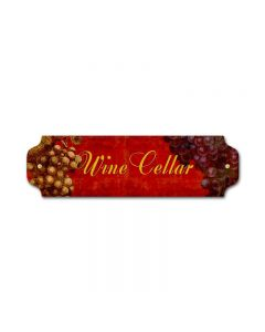 Wine Cellar Vintage Sign, Bar and Alcohol , Metal Sign, Wall Art, 12 X 3 Inches