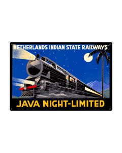 Java Night Train Vintage Sign, Trains, Metal Sign, Wall Art, 36 X 24 Inches