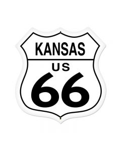 Kansas Route 66 Vintage Sign, Street Signs, Metal Sign, Wall Art, 28 X 28 Inches
