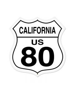 California Route 80 Vintage Sign, Street Signs, Metal Sign, Wall Art, 28 X 28 Inches