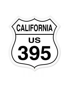 California Route 395 Vintage Sign, Street Signs, Metal Sign, Wall Art, 28 X 28 Inches