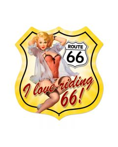 Route 66 Pinup Vintage Sign, Street Signs, Metal Sign, Wall Art, 28 X 28 Inches
