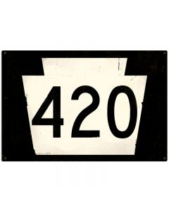 Route 420 Vintage Sign, Street Signs, Metal Sign, Wall Art, 36 X 24 Inches