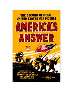 Americans Answer Vintage Sign, Military, Metal Sign, Wall Art, 24 X 36 Inches