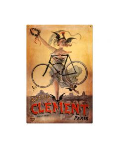 Clement Bicycles Vintage Sign, Humor, Metal Sign, Wall Art, 24 X 36 Inches