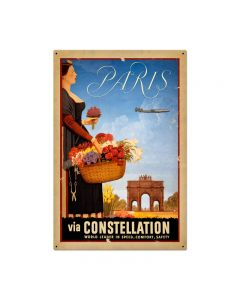 Paris Vintage Sign, Transportation, Metal Sign, Wall Art, 24 X 36 Inches