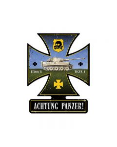 Achtung Panzer, Axis Military, Iron Cross Metal Sign, 19 X 15 Inches