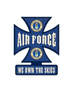 Air Force, Allied Military, Iron Cross Metal Sign, 15 X 19 Inches