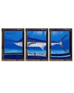Blue Marlin, Metal Triptych, Optional Rustic Wood Frame, Sport Fishing, Wall Art, Ocean, Nautical