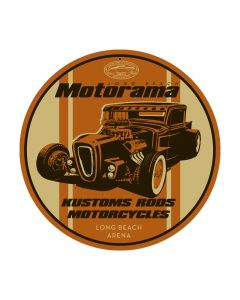 Kustom Rods Motorcycles, Automotive, Round Metal Sign, 14 X 14 Inches