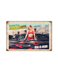 Greetings From Long Beach, Automotive, Vintage Metal Sign, 18 X 12 Inches