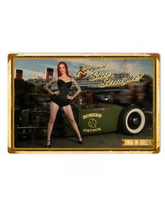 Keepin Shit Straight, Pinup Girls, Vintage Metal Sign, 18 X 12 Inches