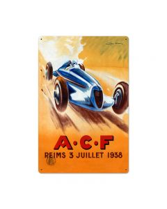 ACF Reims, Automotive, Metal Sign, 24 X 16 Inches