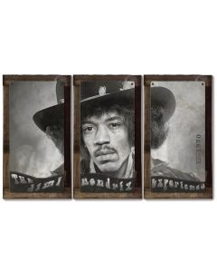 "Jimi Hendrix, The Experience, METAL Sign, Triptych, 3 Panel, On American Steel, Optional Barn Wood Frame, Wall Decor, Wall Art, 54""x36"""