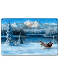 Sleigh Ride By The Lake, Featured Artists/Kevin Daniel Art, Satin, 24 X 16 Inches