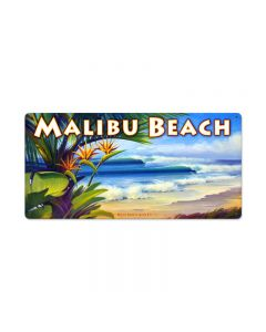 Malibu Beach, Sports and Recreation, Metal Sign, 24 X 12 Inches