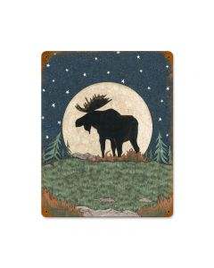 Moose Moon, Home and Garden, Vintage Metal Sign, 11 X 14 Inches