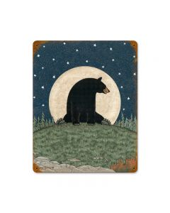 Bear Moon, Home and Garden, Vintage Metal Sign, 11 X 14 Inches