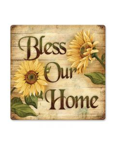 Bless Home, Home and Garden, Vintage Metal Sign, 18 X 18 Inches