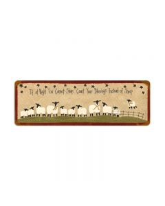 Count Sheep, Home and Garden, Vintage Metal Sign, 24 X 8 Inches
