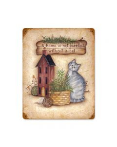 Home with Cat, Home and Garden, Vintage Metal Sign, 11 X 14 Inches