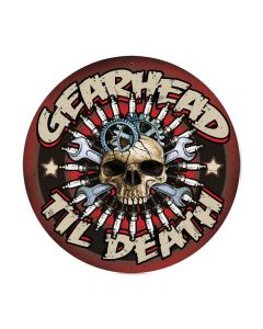 Gearhead, Automotive, Round Metal Sign, 14 X 14 Inches