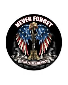 Never Forget, Allied Military, Round Metal Sign, 14 X 14 Inches