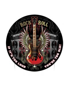 Rock and Roll, Sports and Recreation, Round Metal Sign, 14 X 14 Inches