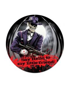 Skull Gangster, Other, Round Metal Sign, 14 X 14 Inches