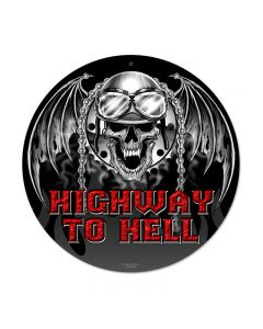 Highway to Hell, Motorcycle, Round Metal Sign, 14 X 14 Inches
